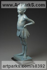 Bronze Dance Sculptures and Ballet sculpture by Deon Duncan titled: 'Next in Line (Small Young Girl Ballerina statuette)'