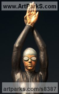 Bronze Arte Nouveau Style sculpture by Deon Duncan titled: 'The Triathlete (bronze female Athlete in Wetsuit statue)'