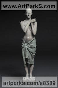Bronze Objects of desire sculpture by Deon Duncan titled: 'Votive (Standing Still Calm Meditaing female Bronze statue)'