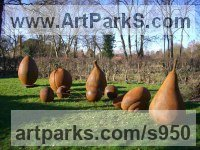 Fruit Sculpture by sculptor artist Dick Budden titled: 'Pear (Giant Big Large Outsize Outdoor garden Yard Fruit statues)' in Resin