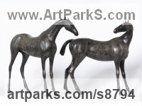 Bronze Minimalist Understated Abstract Contemporary Sculpture statuary statuettes sculpture by Dido Crosby titled: 'Two Horses (Minimalist Stylised bronze sculpture statue)'
