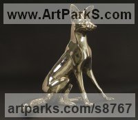 Bronze Wild Animals and Wild Life sculpture by Dido Crosby titled: 'Vixen (life size bronze Polished Sitting Up sculpture)'
