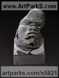 Chinese Porcelain Ceramic sculpture by sculptor Dionisio Cimarelli titled: 'Mask N.15 (Metallic Finnish Child Baby`s Face Bust Porcelain statue)'