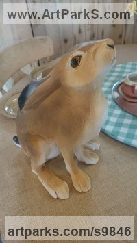 Ceramic Hares and Rabbits sculpture by Donnas Hermena Peterson titled: 'Winter Hare (Coloured Life Like sculpture)'