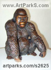 Primate / Apes Sculpture by sculptor artist Dorothy Cameron titled: 'Gorilla (Small Bronze seated Gorilla statues)' in Bronze