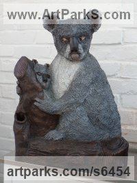 Bronze resin Bears sculpture by Dreene Cotton titled: 'KYLIE the KOALA (Bronze resin bear and Cub statue/sculptures for sale)'