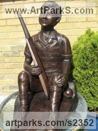 Sculpture of Sport in General by sculptor artist Dreene Cotton titled: 'Rain Stopped Play (Boy Child nearly Life-Size garden sculpture/statue)' in Bronze resin
