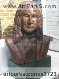 Bronze Resin Sculpture of Men by Dreene Cotton titled: 'The Boy from Liverpool (bronze resin John Lennon Beatle Inside Bust)'