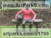 Bronze Resin Garden Or Yard / Outside and Outdoor sculpture by Dreene Cotton titled: 'Thomas a substitute Again (Bronze resin Boy Footballer sculpture/statue)'