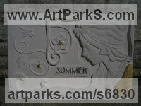 Portland stone Arte Nouveau Style sculpture by Duncan Park titled: 'Summer (carved Season/Girl Outside Outdoor stone Wall plaque carving)'