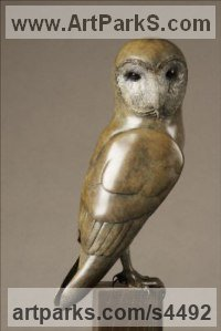 Bronze Varietal Mix of Bird Sculptures or sculpture by sculptor Eddie Hallam titled: 'Barn Owl (Bronze Perched Raptor Bird of Prey statuette)'