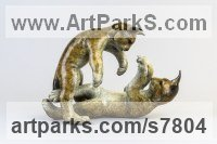 Bronze Young Animal Bird, Reptile or Amphibian and possibly Insects Statues sculpture by Eddie Hallam titled: 'Lynx Kittens at Play'