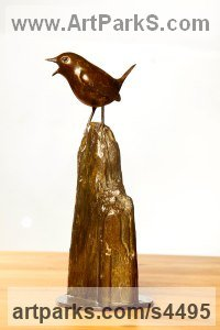 Bronze Varietal Mix of Bird Sculptures or sculpture by sculptor Eddie Hallam titled: 'Wren on Driftwood (Bronze Life-size Singing Perched Bird statue)'