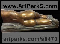 Bronze Objects of desire sculpture by Edward Fleming titled: 'Dream II b (Little bronze Naked Girl Sleeping statue)'
