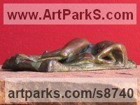 Bronze Nudes, Female sculpture by Edward Fleming titled: 'Dream VIII (bronze Naked Lover Maquette statuette)'