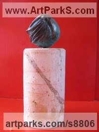 Bronze Contemplative, Restful, Thougtful sculpture by Edward Fleming titled: 'Gaia Meets Coriolis (bronze maquette)'