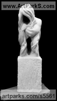 White Colorado marble Spiritual sculpture by Edward Fleming titled: 'Grief (Carved marble Emotion figurative Torso Carving/statue/sculpture)'