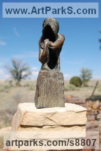 Bronze Meditation sculpture / Statues / statuettes / figurines sculpture by Edward Fleming titled: 'Grief (Bronze maquette)'