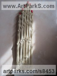 Limestone Surrealist sculpture by Edward Fleming titled: 'Seven Fingers (Extended abstract Woman`s Hand Carving)'