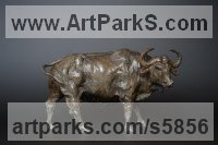 Bronze Sign of the Zodiac sculpture by Edward Waites titled: 'African Buffalo Bull (Bronze Standing Aggressively statue statuette)'