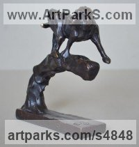 Bronze Primate / Apes sculpture by Edward Waites titled: 'Baboon (Bronze Little Small on Branch statuette sculpture statue)'
