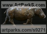 Bronze Small Animal sculpture by Edward Waites titled: 'Charging Hippo (Small Hippopotamus Trotting sculpture)'