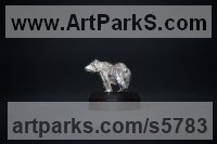 Silver Precious Metal Precious stone Sculpture Statue Ornament Figurine Statuette sculpture by Edward Waites titled: 'ejw Silver Grizzly Bear (Miniature Little Walking statue statuette Art)'