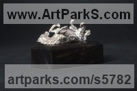 Silver Horses Small, for Indoors and Inside Display Statues statuettes Sculptures figurines commissions commemoratives sculpture by Edward Waites titled: 'ejw Silver Rolling Horse (Tabletop Silver Equine Miniature)'