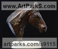 Bronze Horse Head or Bust or Mask or Portrait sculpture statuettes statue figurines sculpture by Edward Waites titled: 'Eventer (Small Horse Head Bust bronze sculpture statue)'
