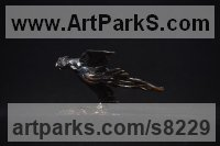 Bronze Small bird sculpture by Edward Waites titled: 'Flying Pheasnt'
