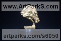 Gold Horse Head or Bust or Mask or Portrait sculpture statuettes statue figurines sculpture by Edward Waites titled: 'Gold Horse Head (Miniature Little Bust statuette statue)'
