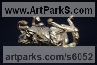 Gold Miniature Sculptures, statuettes or figurines sculpture by Edward Waites titled: 'Gold Rolling Horse (Miniature Little Gold statuette ornament statue)'