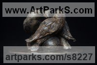 Bronze Small bird sculpture by Edward Waites titled: 'Hawk Trio (Little Group of Nestlings bronze statuettes)'