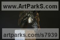 Bronze Polo Pony and Pony sculpture / statue / statuette / figurine / ornament Portraits Commissions Memorials sculpture by Edward Waites titled: 'Horse Head (Dubawi) (Small Bust Indoor sculpture statue)'