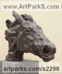 Pet and Animal Portrait Custom or Bespoke or Commission Commemorative or Memoriaql sculpture statue by sculptor artist Edward Waites titled: 'Horse Head (Sariska)' in Bronze