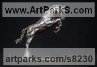 Bronze Horses Heavy / Working Shire, Plough, Dray, Barge, Horses Sculptures Statues statuettes commissions sculpture by Edward Waites titled: 'Jumping Horse Miniature'