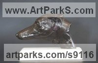 Bronze Dogs sculpture by Edward Waites titled: 'Lurcher Bust (Hunting Hound`s Head sculpture statue)'