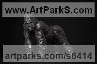Bronze & Oak Primate / Apes sculpture by Edward Waites titled: 'Silverback Gorilla (Little Small Primate sculpture statue statuette)'