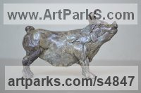 Bronze Pigs, Sows, Boars, Hogs, Piglets sculpture by Edward Waites titled: 'Sow (Small Cheerful Pig statuettes ornament/bronze)'
