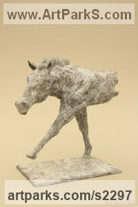 Bronze Animal Abstract Contemporary Modern Stylised Minimalist sculpture by Edward Waites titled: 'Striding Horse (Little/Small Contemporary bronze statuette/sculpture)'