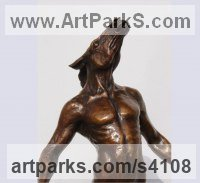 Bronze Nudes / Male sculpture by sculptor Elisabeth Hadley titled: 'Horseman (Half Man and Stallion Bronze statue)'