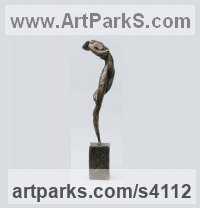 Bronze Abstract Modern Contemporary Avant Garde Sculptures Statues statuettes figurines statuary both Indoor Or outside sculpture by Elisabeth Hadley titled: 'Tempest (nude Woman Swirling Dancer bronze sculptures)'