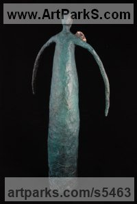 Foundry Cast Bronze Angel sculpture by Elizabeth Rollins-Scott titled: 'Arch Angel (abstract Contemporary statue)'
