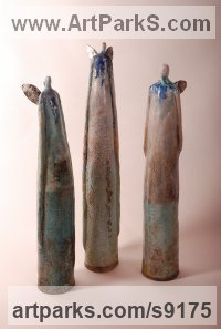 Ceramic Ceramic sculpture by Elizabeth Rollins-Scott titled: 'Wind Sisters (Young Angels statuettes)'
