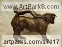 Resin bronze Cattle, Kine, Cows, Bulls, Buffalos, Bullocks, Heifers, Calves, Oxen, Bison, Aurocks, Yacks sculpture by Elizabeth Waugh titled: 'Bull Leaper (Minoan Man and Bullock statue figurine)'