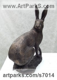 Resin bronze Hares and Rabbits sculpture by Elizabeth Waugh titled: 'Startled Hare (life size Seated Sitting Upright statue)'