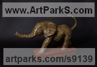 Bronze Resin Wild Animals and Wild Life sculpture by Elliot Channer titled: 'Elephant Calf'