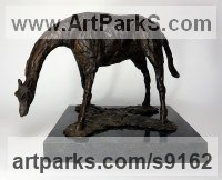 Bronze Wild Animals and Wild Life sculpture by Elliot Channer titled: 'Giraffe at Watering Hole'