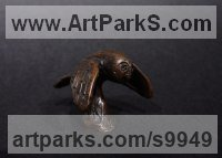 Bronze Miniature Sculptures, statuettes or figurines sculpture by Elliot Channer titled: 'Owl'