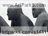 High-firing refractory clay Human Form: Abstract sculpture by sculptor Emily Little titled: 'Buffalo Girl`s (ceramic Peasant Women Busts statue)'